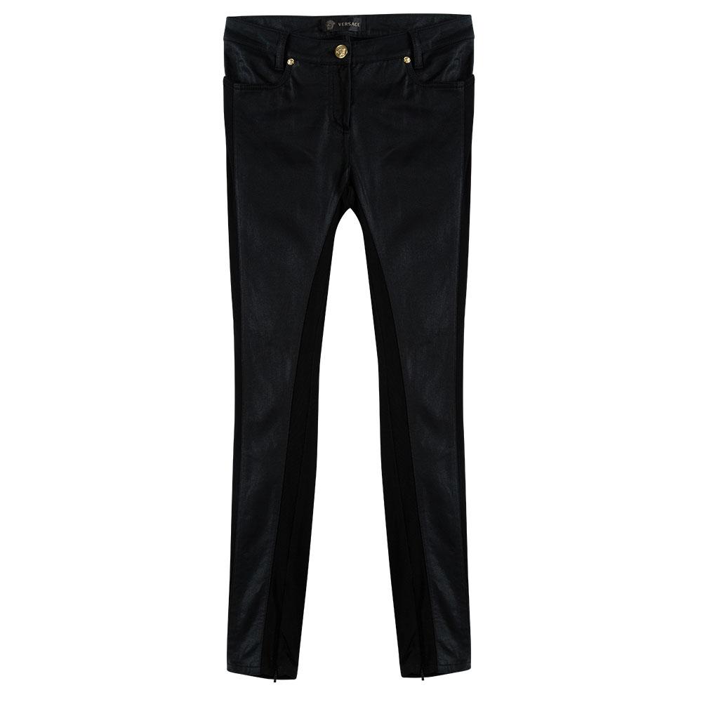 Купить со скидкой Versace Black Knit Denim Panel Detail Skinny Jeans M