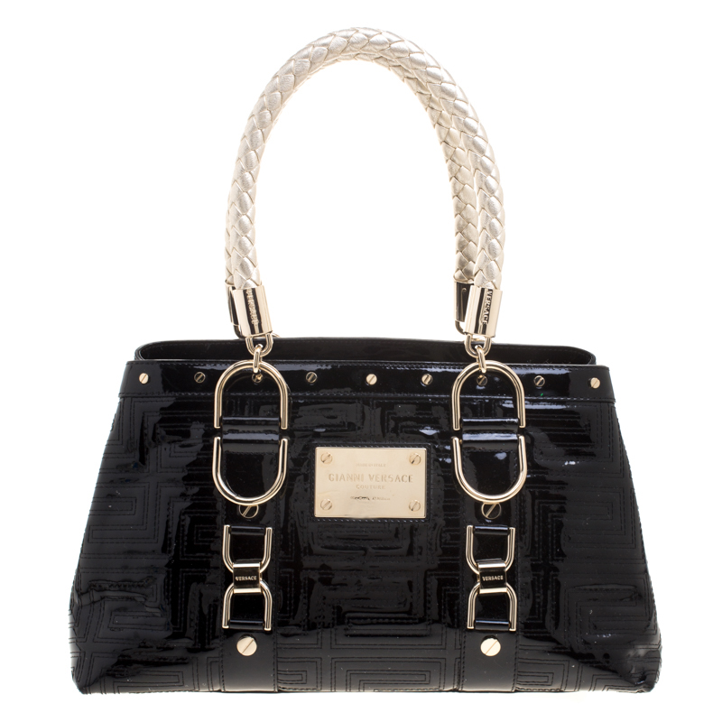 ... Versace Black Quilted Patent Leather Snap Out Of It Tote. nextprev.  prevnext 189a992802543