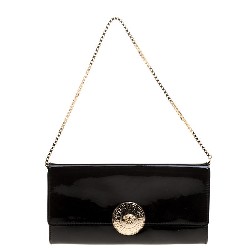 80e442ebb5 ... Versace Black Patent Leather Medusa Logo Chain Clutch. nextprev.  prevnext