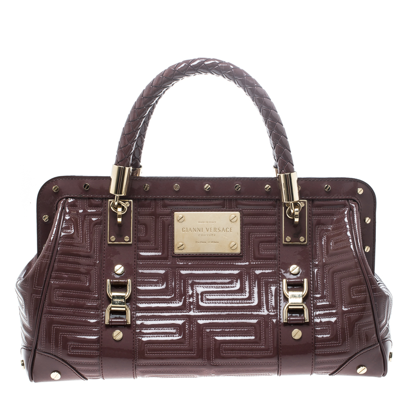 Купить со скидкой Versace Dark Beige Quilted Patent Leather Snap Out of It Satchel