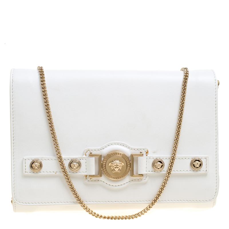 91ca516b61 Versace White Leather Chain Clutch Bag