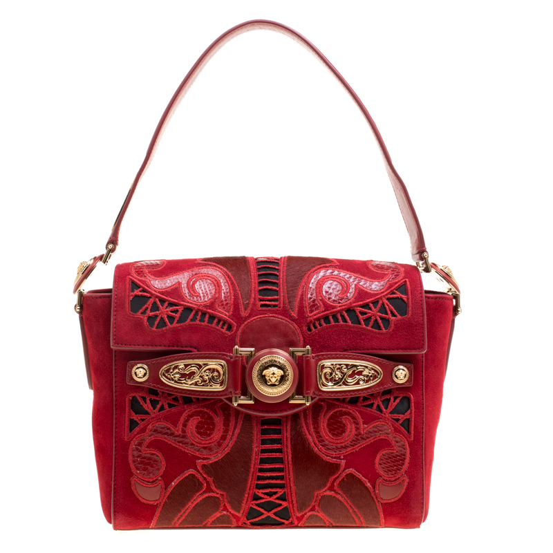 989d6eafd6 ... Versace Red Suede Calfhair and Snakeskin Shoulder Bag. nextprev.  prevnext
