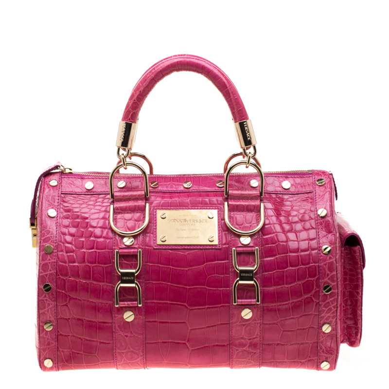 e0598295bf3c Buy Versace Pink Crocodile Snap Out Of It Satchel 186601 at best ...