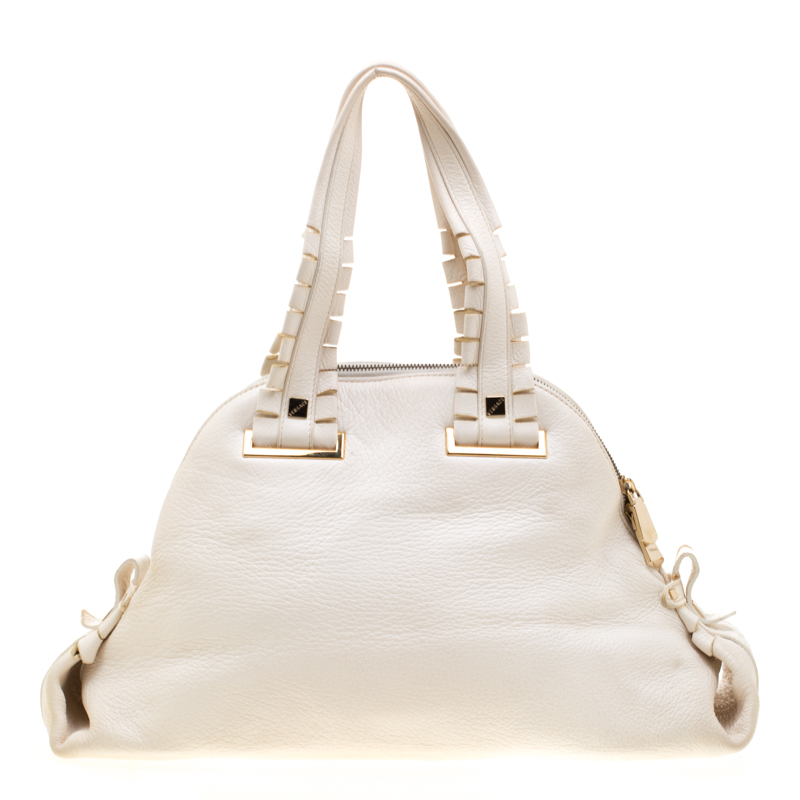 Versace Bag Off White Leather Dome Satchel