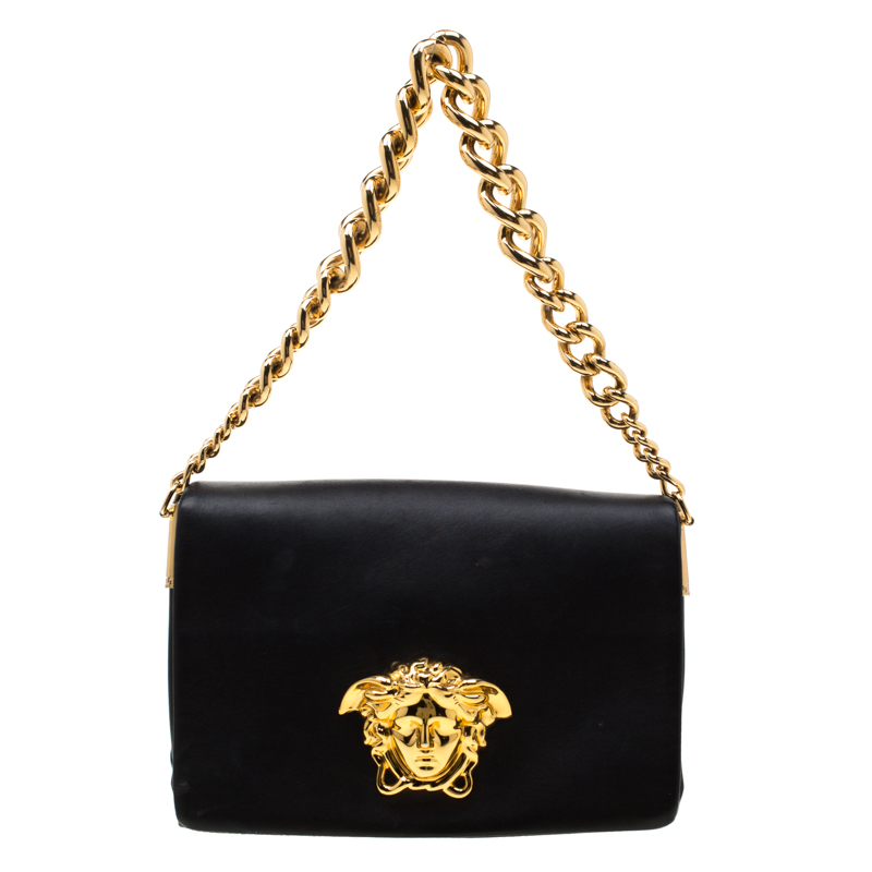 Versace Black Leather Medusa Sultan Shoulder Bag