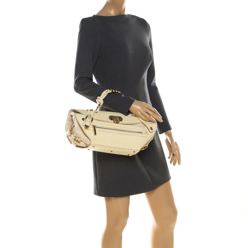 Versace Cream Croc Embossed Leather And