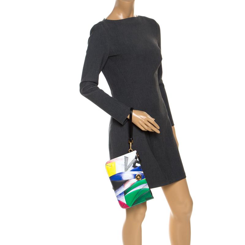Versace Multicolore Clash Icône D'Impression En Cuir Bracelet