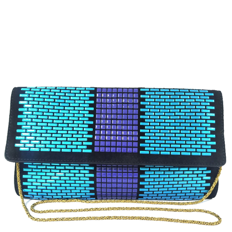 Versace Multicolor Studs And Canvas Evening Clutch
