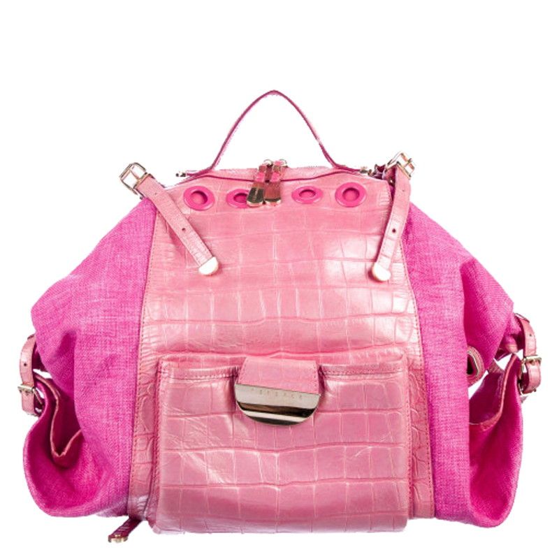 Versace Pink Embossed Leather And Raffia Darling Backpack