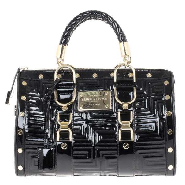 Versace Black Patent Quilted Snap Out Of It Satchel