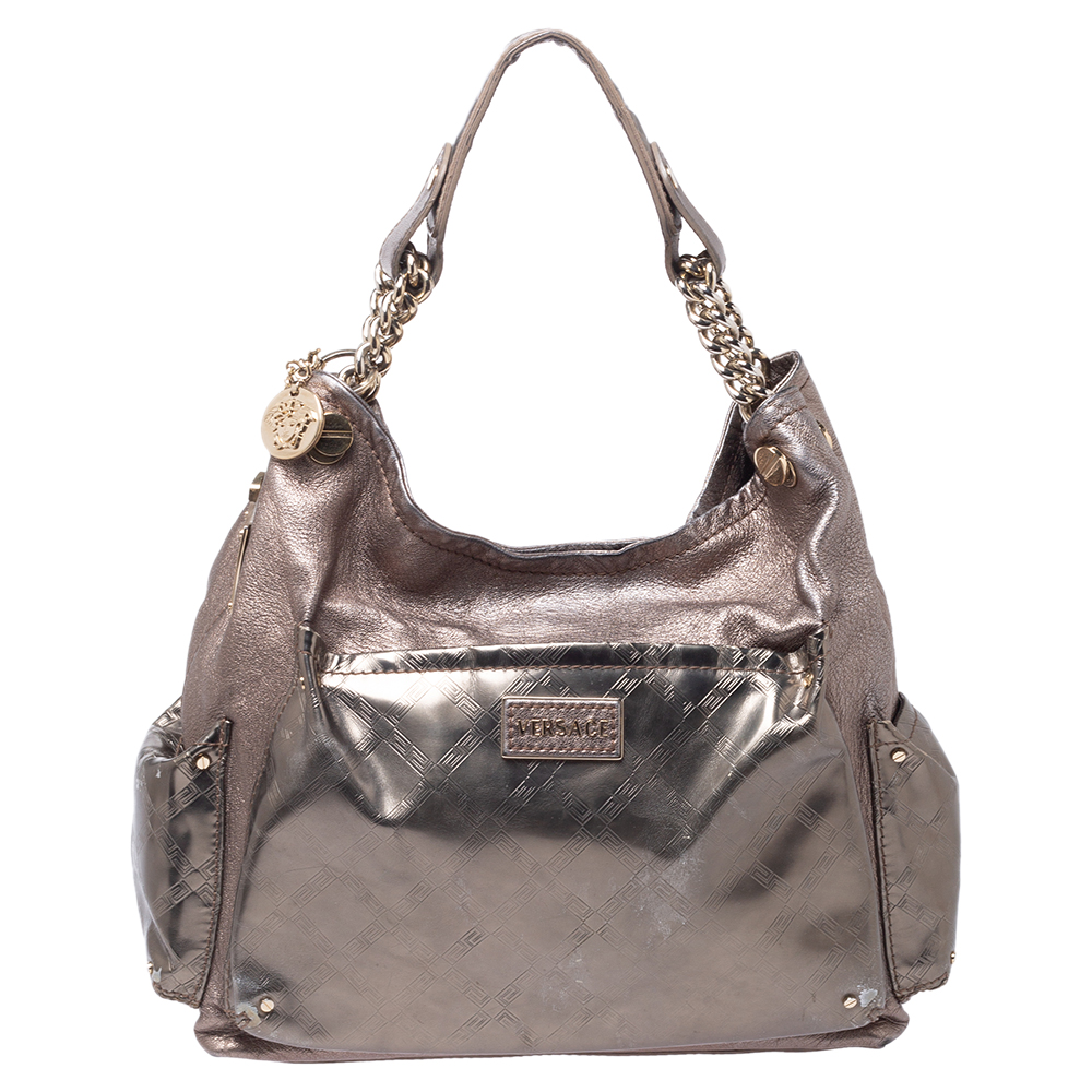Pre-owned Versace Metallic Leather Pocket Shoulder Bag