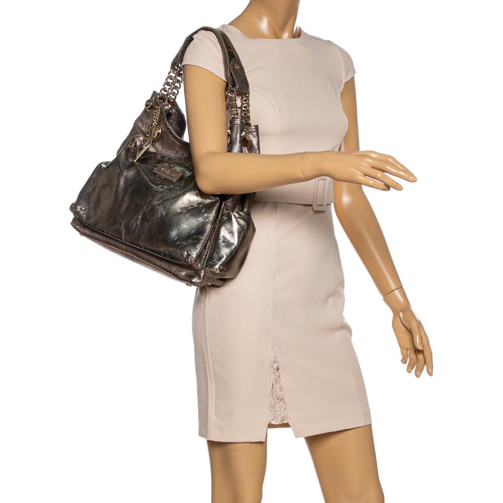Versace Metallic Leather Pocket Shoulder Bag  - buy with discount