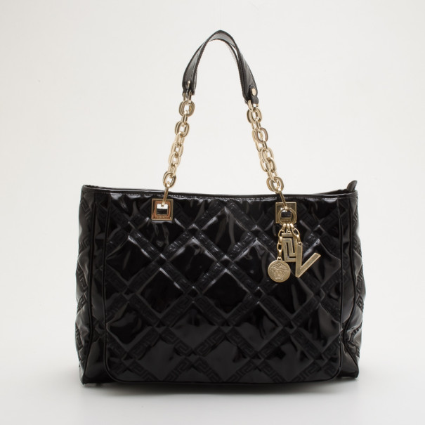 881f400a3eb8 Buy Versace Black Patent Chain Shoulder Bag 34892 at best price