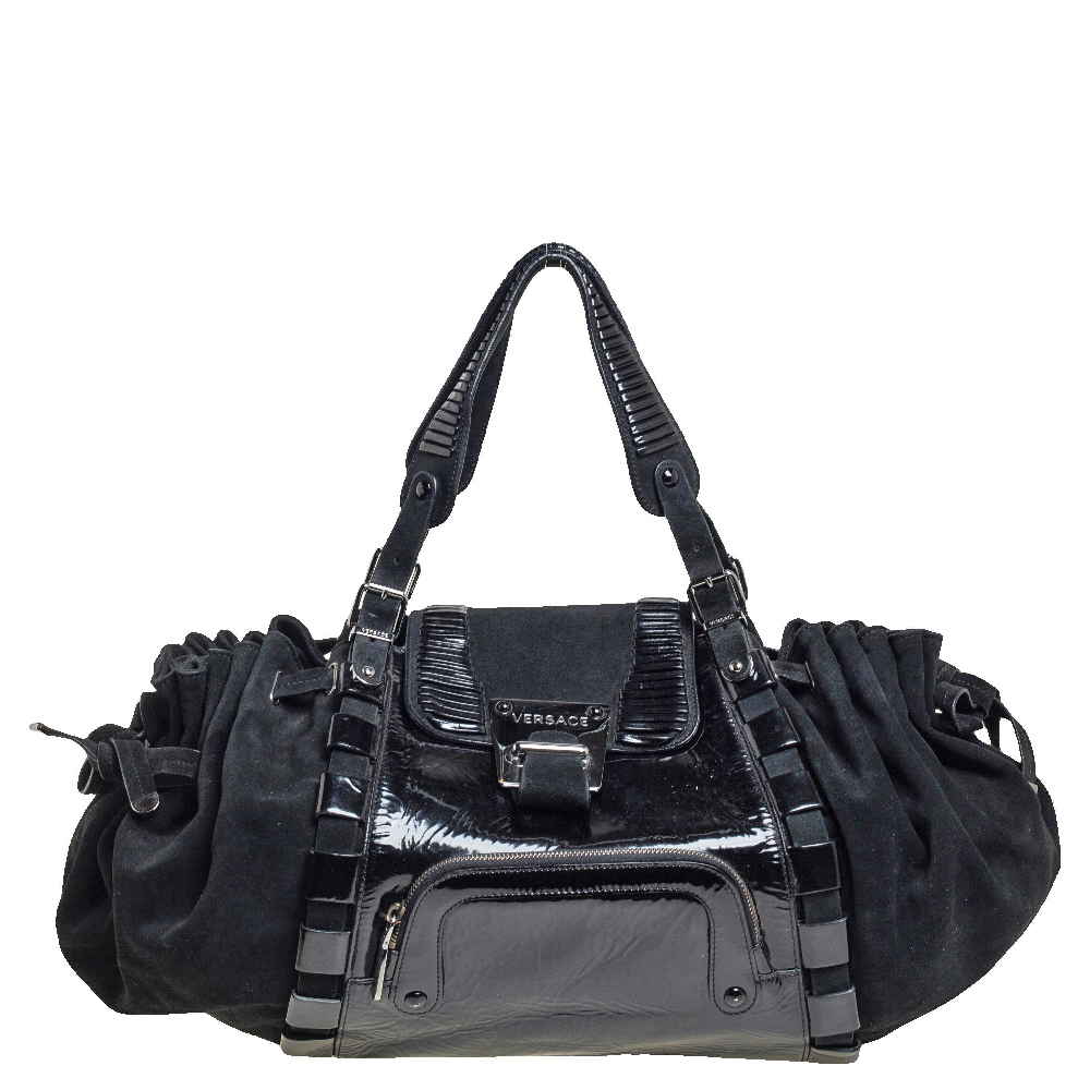 Pre-owned Versace Black Suede And Patent Leather Drawsting Satchel