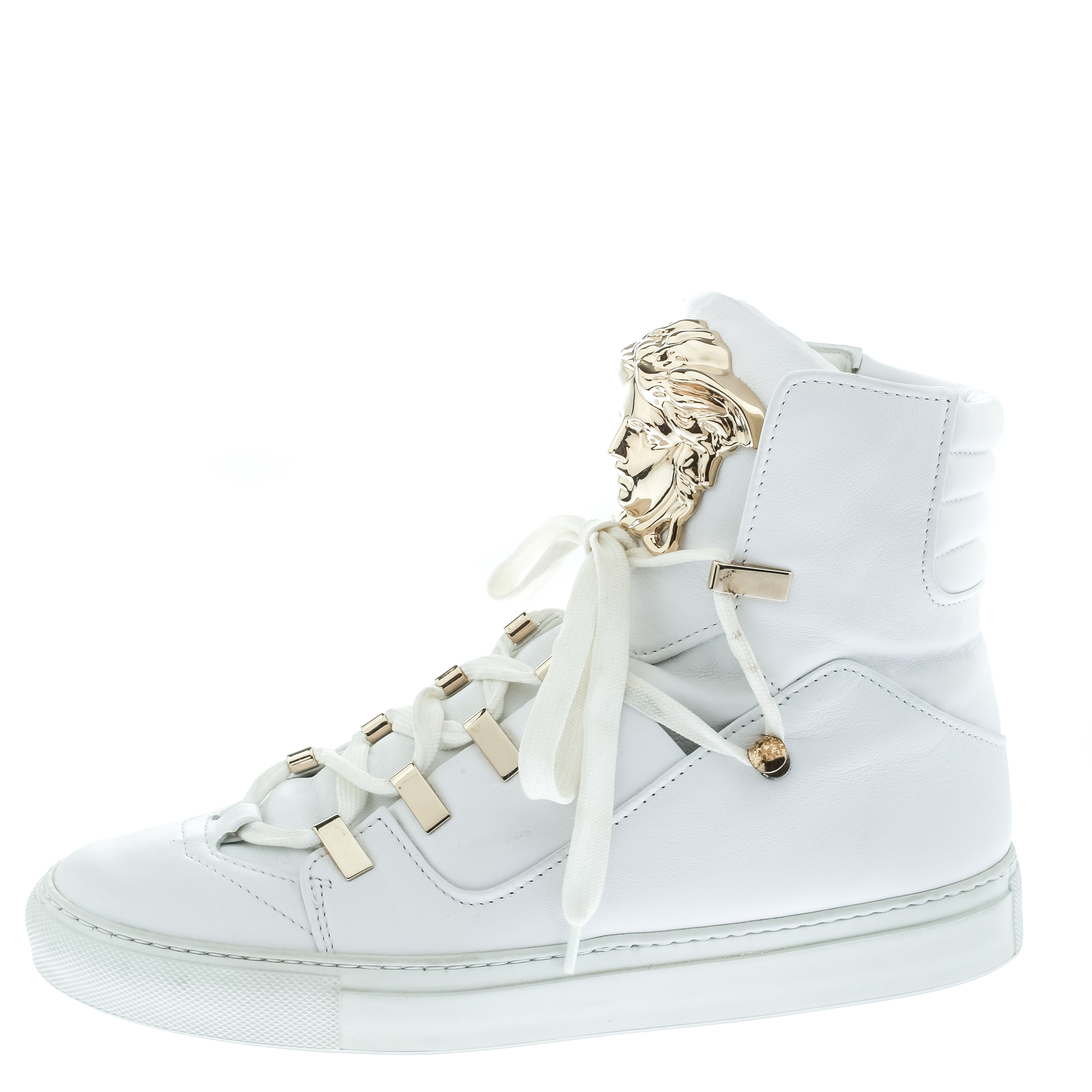 Versace White Leather Medusa High Top