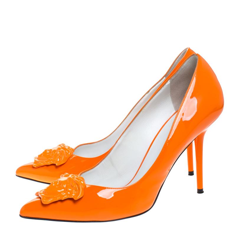 Versace Orange Patent Leather Palazzo