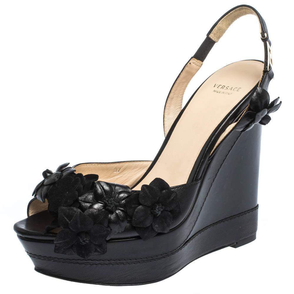 Versace Black Leather And Suede Flower Embellished Wedge Platform Slingback Sandals Size 37