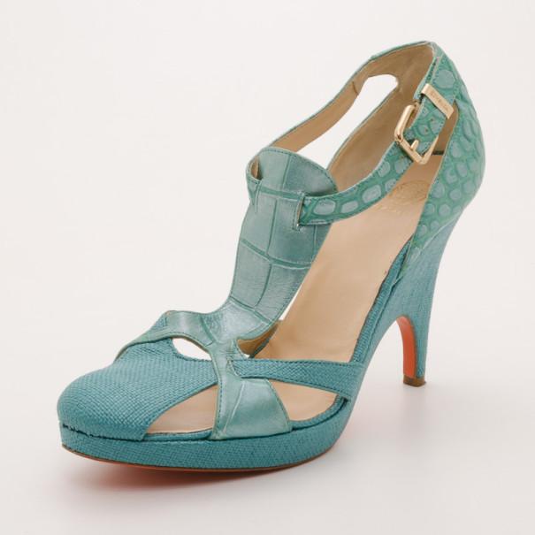 Versace Teal Raffia Croc Stamped Wedge
