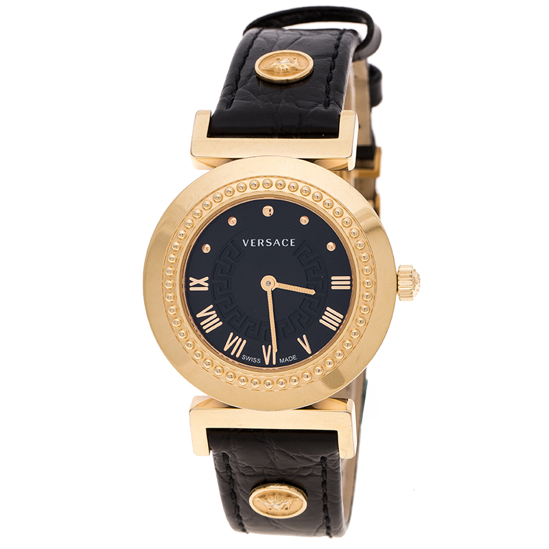 b395c47e Versace Black Gold Tone Stainless Steel Vanity P5Q Women's Wristwatch 35 mm