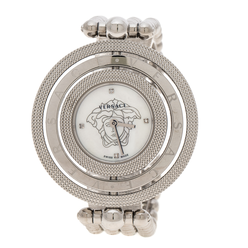 75ca77e79b Versace Mother of Pearl Stainless Steel Eon 80Q Women's Wristwatch 39 mm