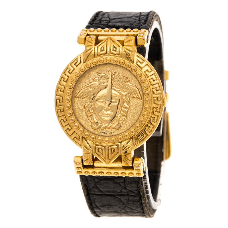 e75f28ac Gianni Versace Signature Medusa Gold Plated Leather Women's Wristwatch 30MM