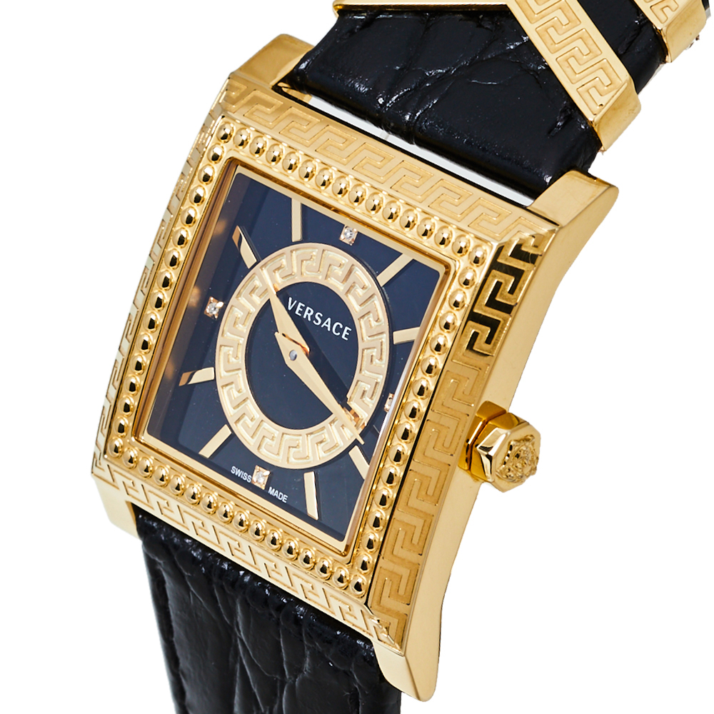 Versace Black Yellow Gold Plates Stainless Steel Diamond VD25 VQF020015 Women's Wristwatch 30 mm  - buy with discount