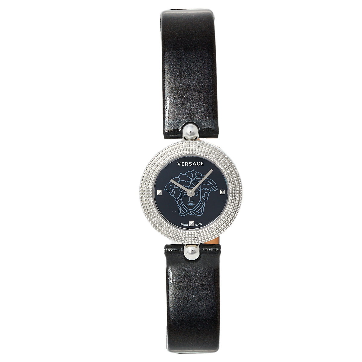 Pre-owned Versace Black Stainless Steel Patent Leather Eon Soiree 94q Women's Wristwatch 27 Mm