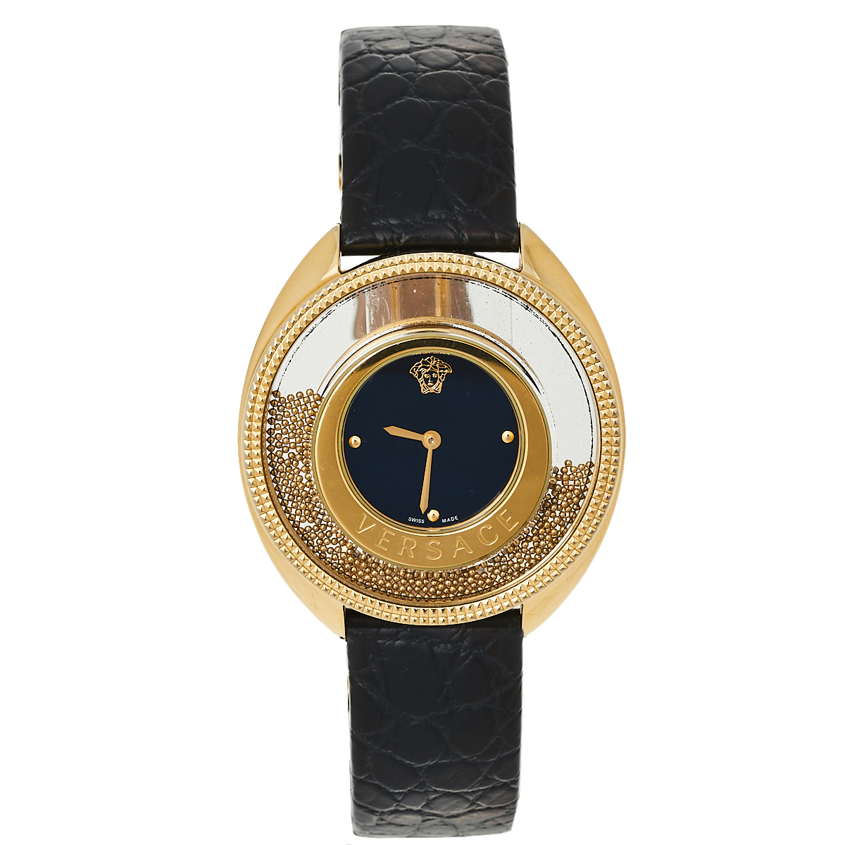 Pre-owned Versace Black Gold Plated Stainless Steel & Leather Destiny Spirit 86q Women's Wristwatch 39 Mm