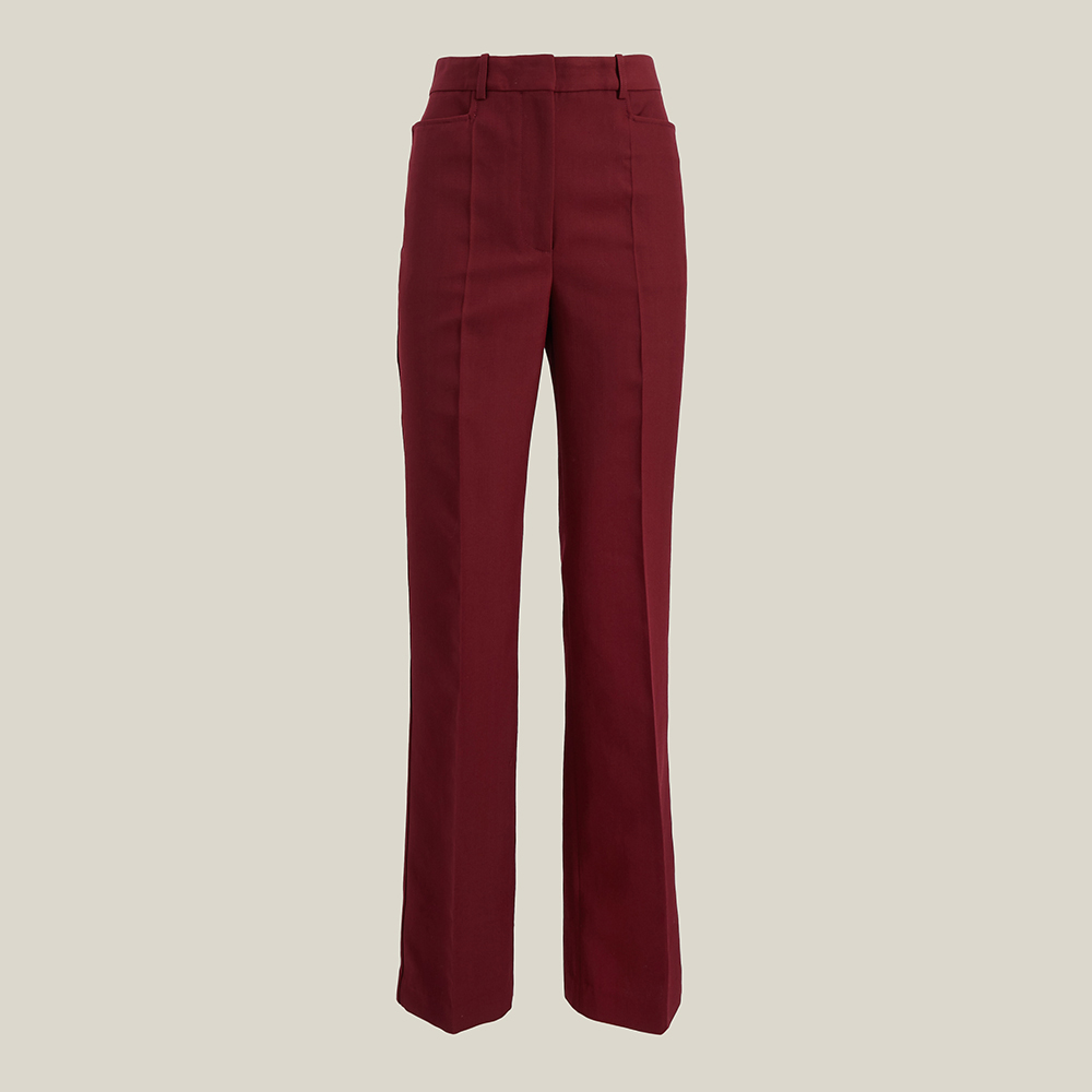 Victoria Beckham Red Straight-Leg Wool-Blend Trousers UK 16