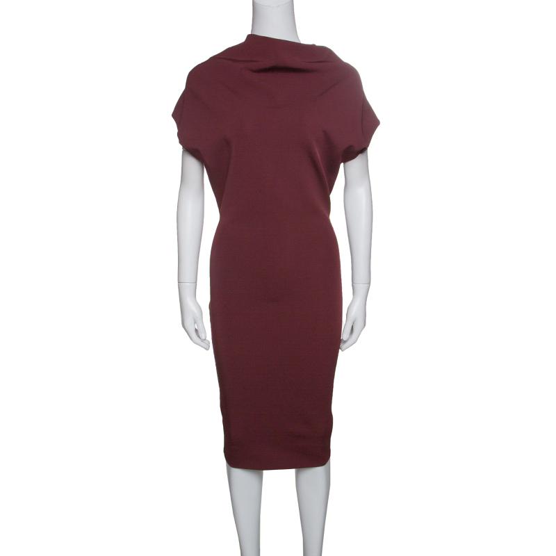 Victoria Beckham Burgundy Knit Draped High Neck Bodycon Dress S