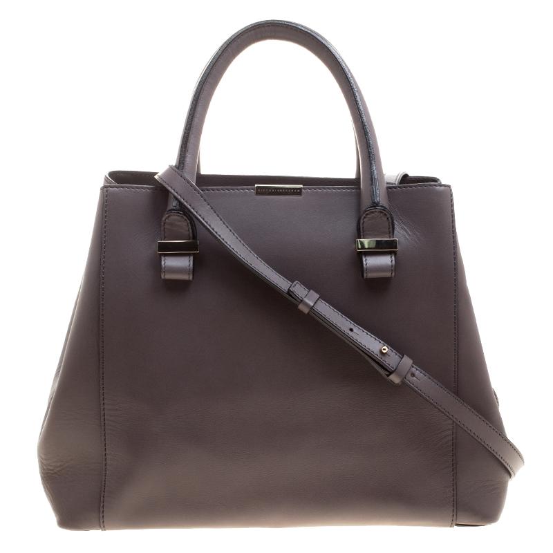 f335c79c9 Buy Victoria Beckham Dark Grey Leather Quincy Tote 125507 at best ...