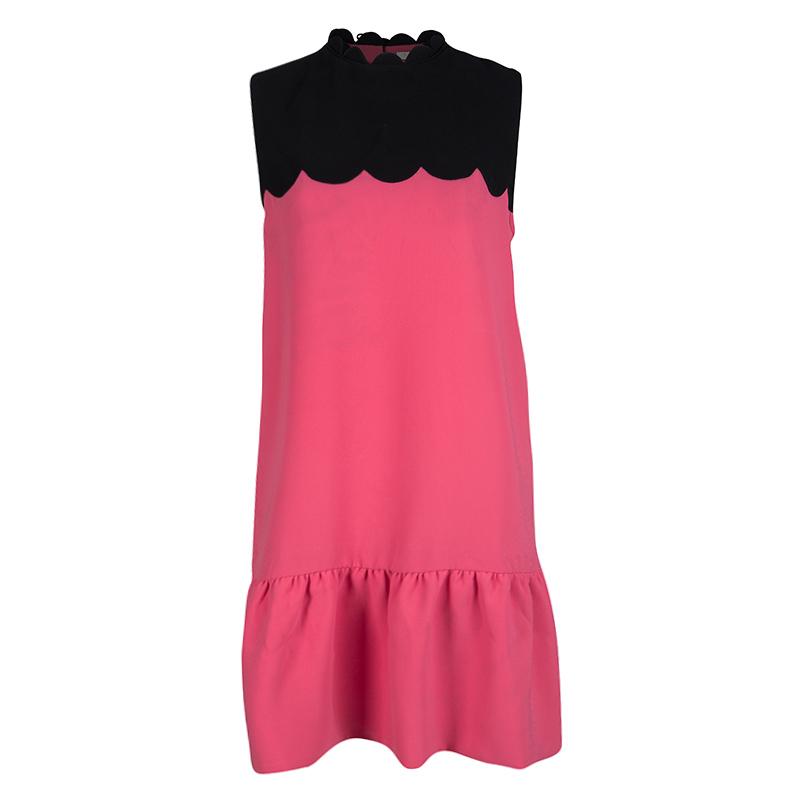Victoria Victoria Beckham SS'12 RTW Pink Contrast Scallop Yoke Detail Dress L