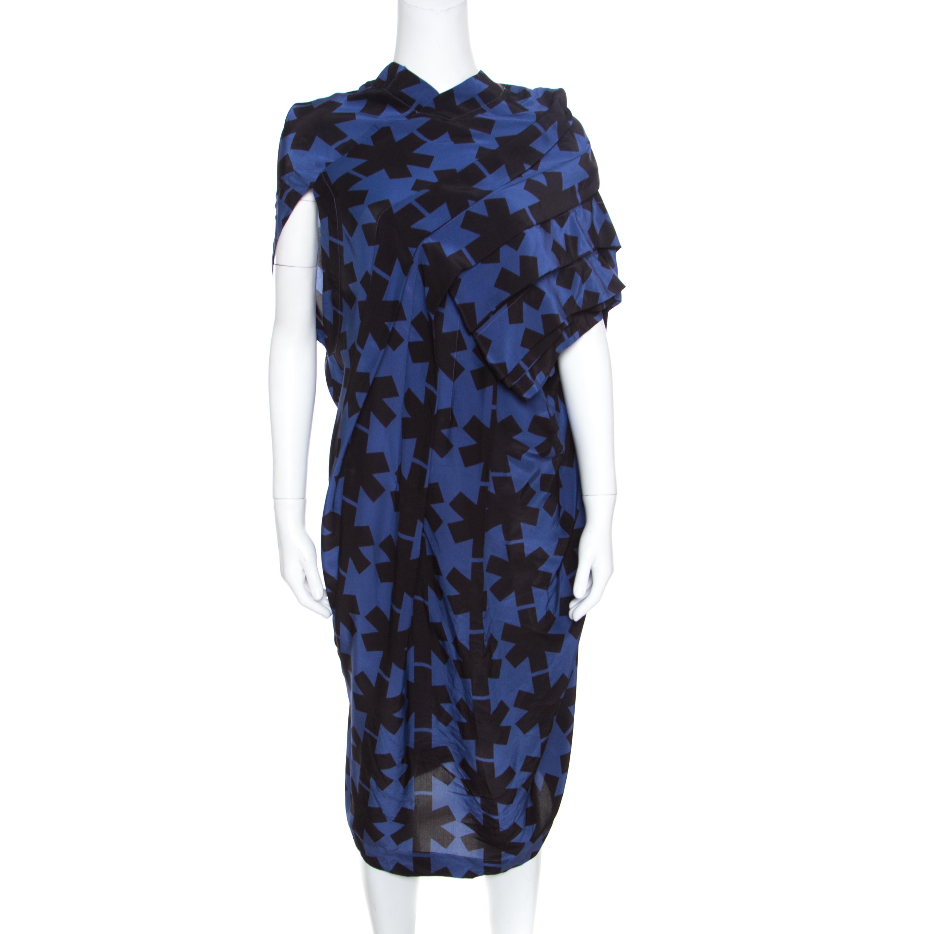 e6c37de3bb6 ... Vivienne Westwood Anglomania Blue and Black Printed Draped Asymmetric  Dress M. nextprev. prevnext