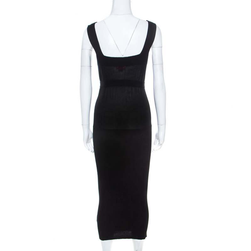 Vivienne Westwood Red Label Black Rib Knit Sleeveless Ed Belted Midi Dress S
