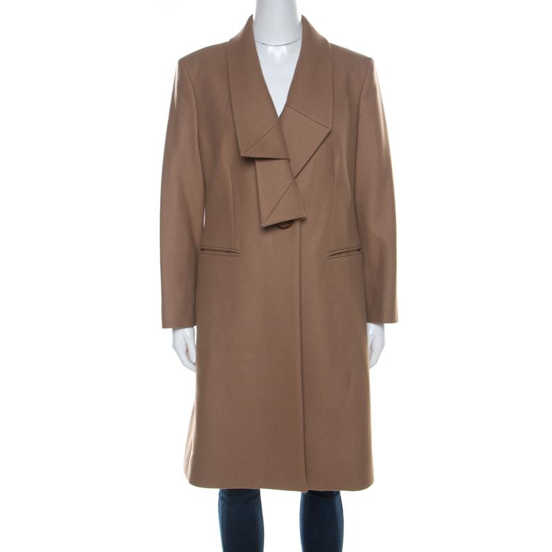 Vivienne Westwood Red Label Camel Brown Felt Wool Pleated Lapel Long Coat L
