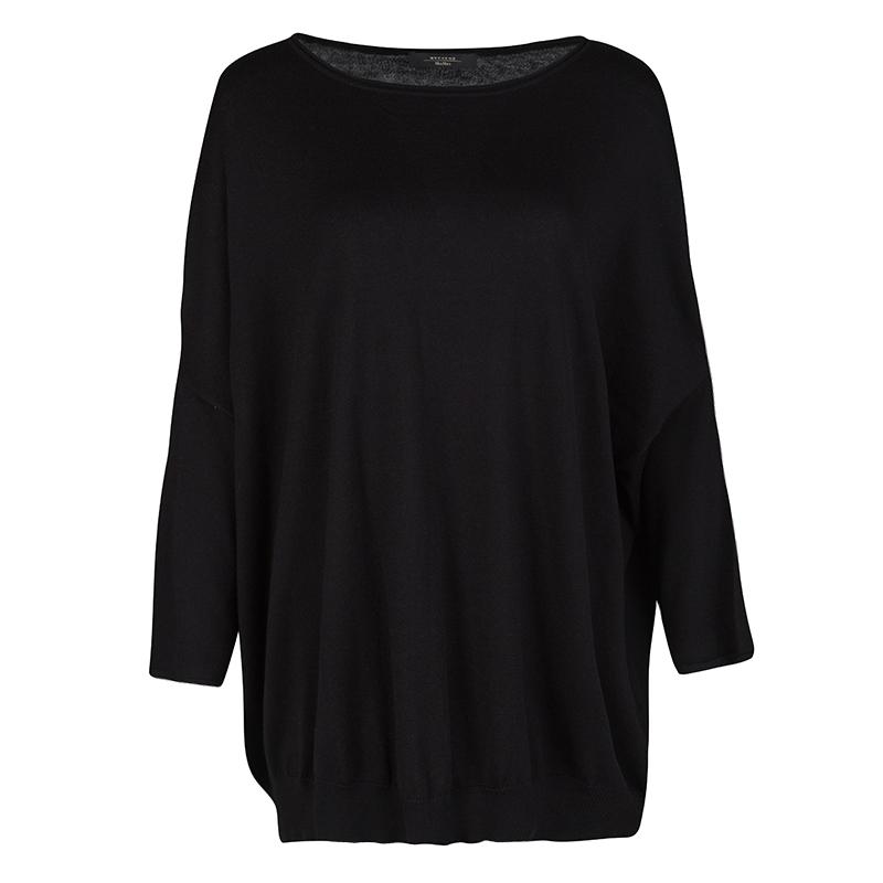 Weekend Max Mara Black Silk Cotton Knit Ribbed Hem Top XL