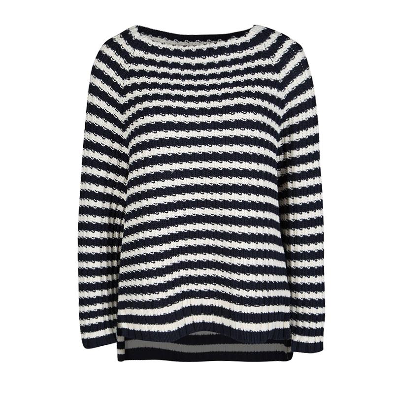 0f17dfa0e2 ... Weekend Max Mara Navy Blue and White Striped Chunky Knit Sweater M.  nextprev. prevnext
