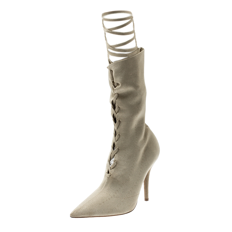 Yeezy Season 5 Beige Knit Fabric Mid Calf Lace Up Pointed Toe Boots Size 38.5