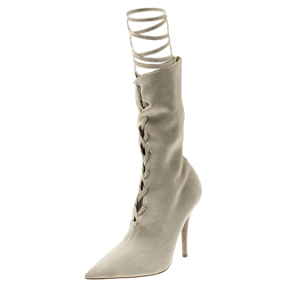 Pre-owned Yeezy Beige Knit Sock Lace Up Boots Size 36.5