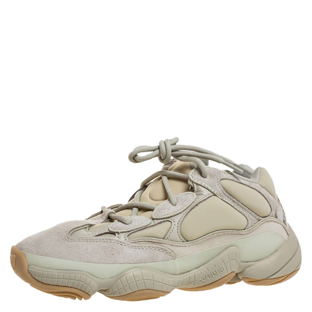 Yeezy x Adidas Off-white Suede, Leather And Mesh Yeezy 500 Sneakers Size 38