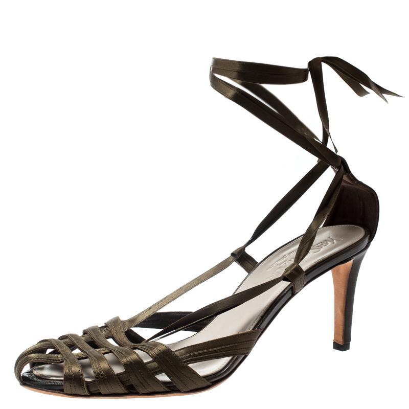 70ef16e51a5 ... Saint Laurent Paris Green Satin Strappy Ankle Wrap Sandals Size 38.  nextprev. prevnext