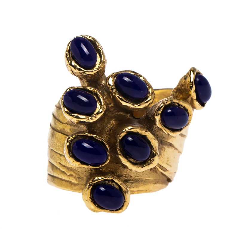 Yves Saint Laurent Arty Dots Blue Cabochon Gold Tone Ring Size 52  - buy with discount