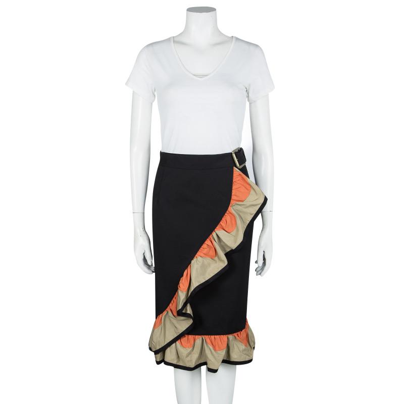 Фото #1: Yves Saint Laurent SS'11 Black Cotton Contrast Ruffle Detail Wrap Skirt M