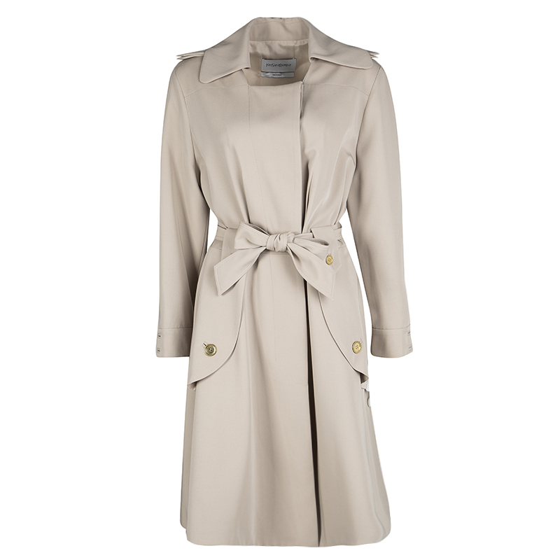 professional sale cute cheap buying now Yves Saint Laurent Beige Wool Belted Trench Coat L