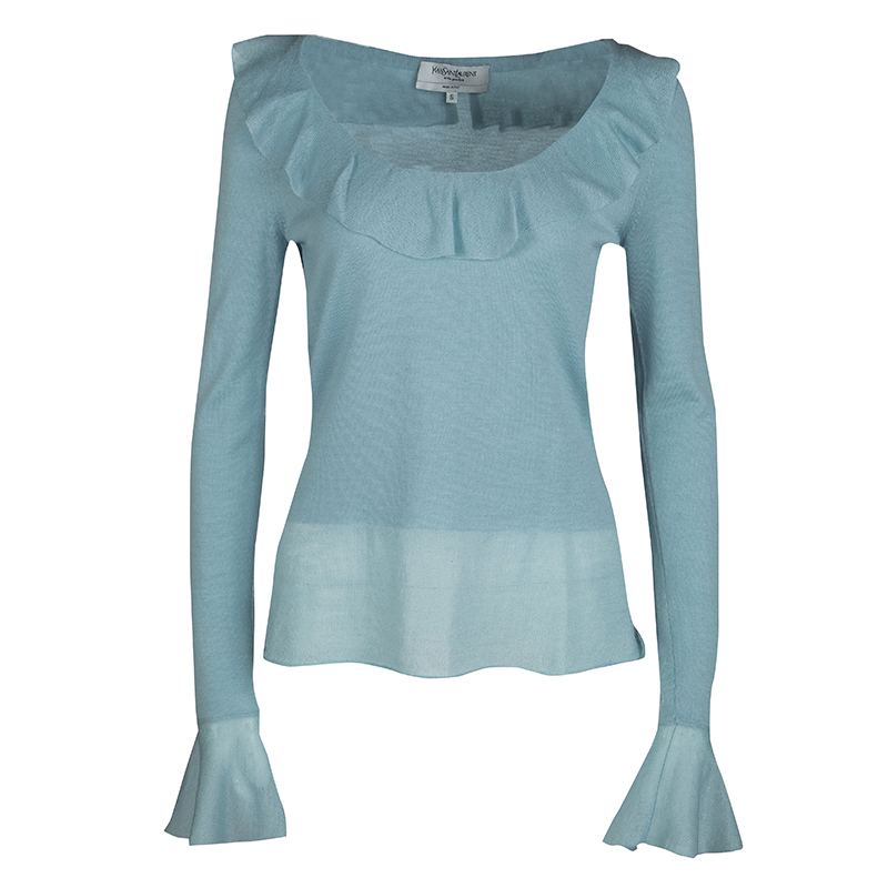 385c77d2619 Buy Yves Saint Laurent Powder Blue Wool Ruffle Trim Long Sleeve ...