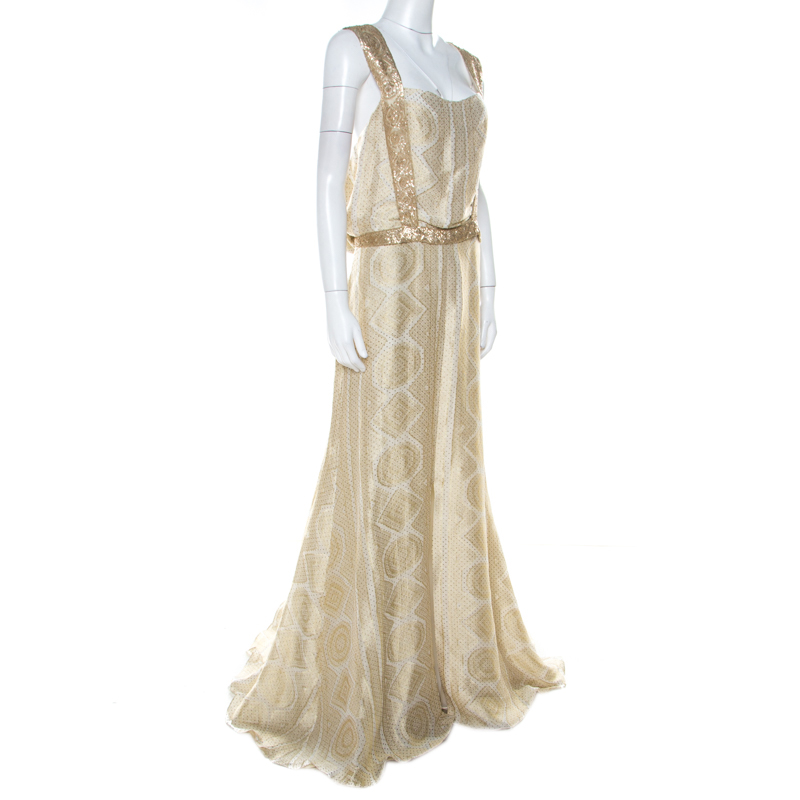 Yves Saint Laurent White and Gold Sequin Embellished Silk and Linen Polka Dot Detail Gown