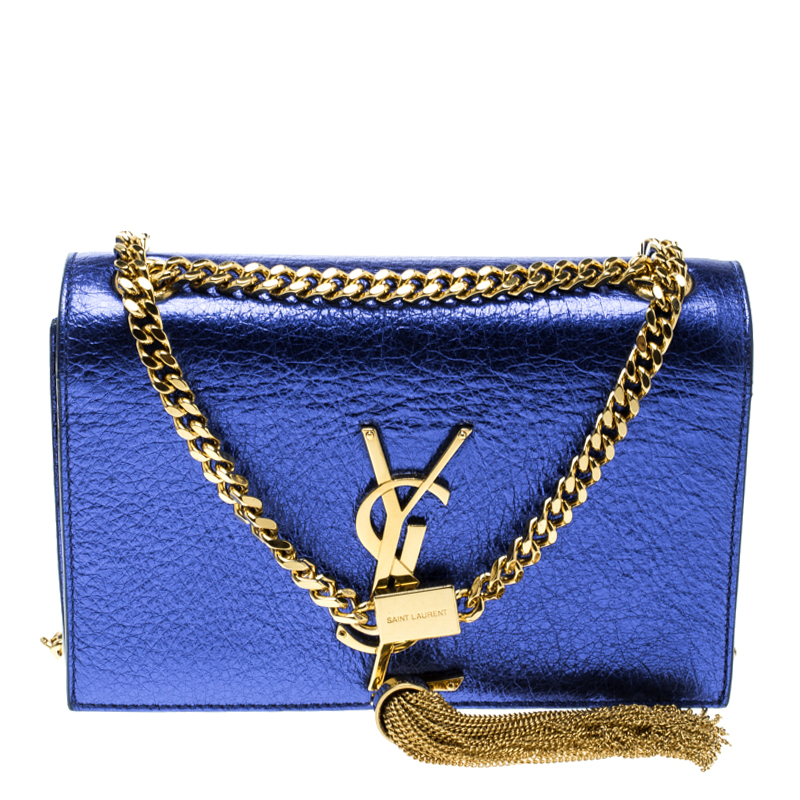 Saint Laurent Metallic Blue Leather Small Kate Tassel Crossbody Bag