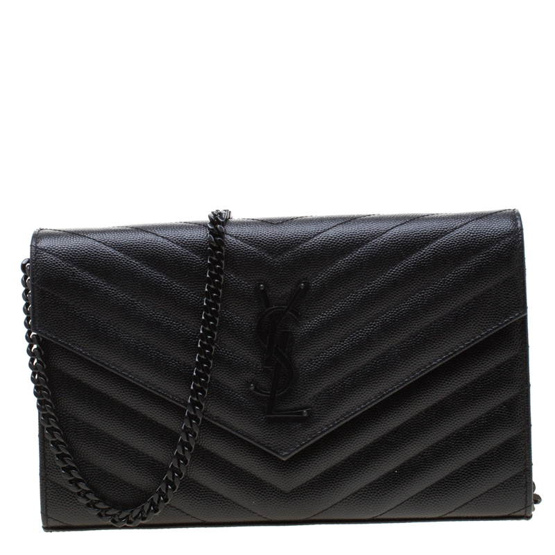 b1ee867da12 ... Saint Laurent Paris Black Chevron Leather Wallet on Chain. nextprev.  prevnext