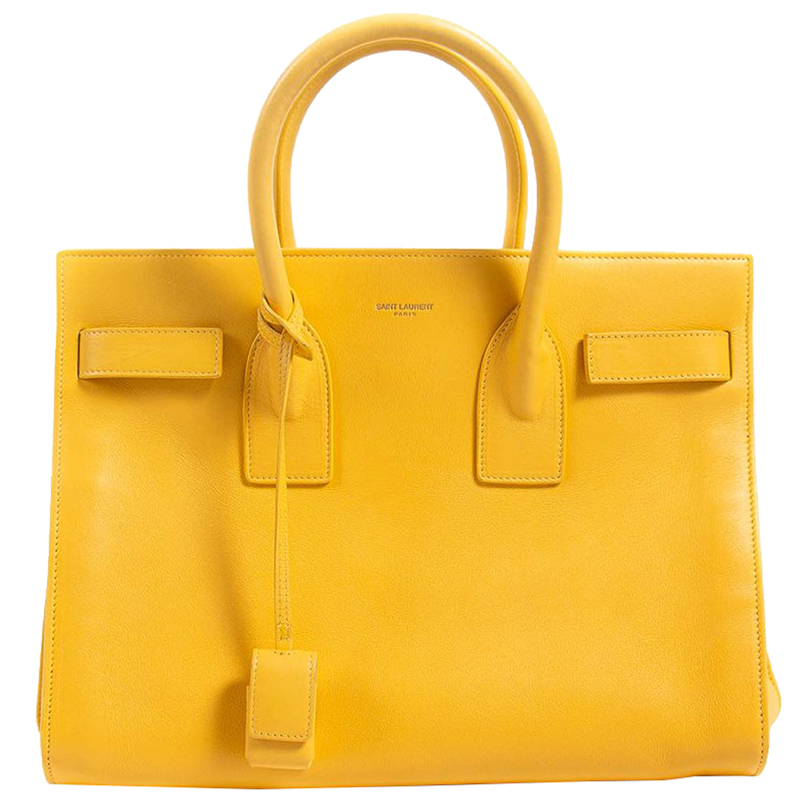 Saint Lau Yellow Leather Sac De Jour Small Shoulder Bag