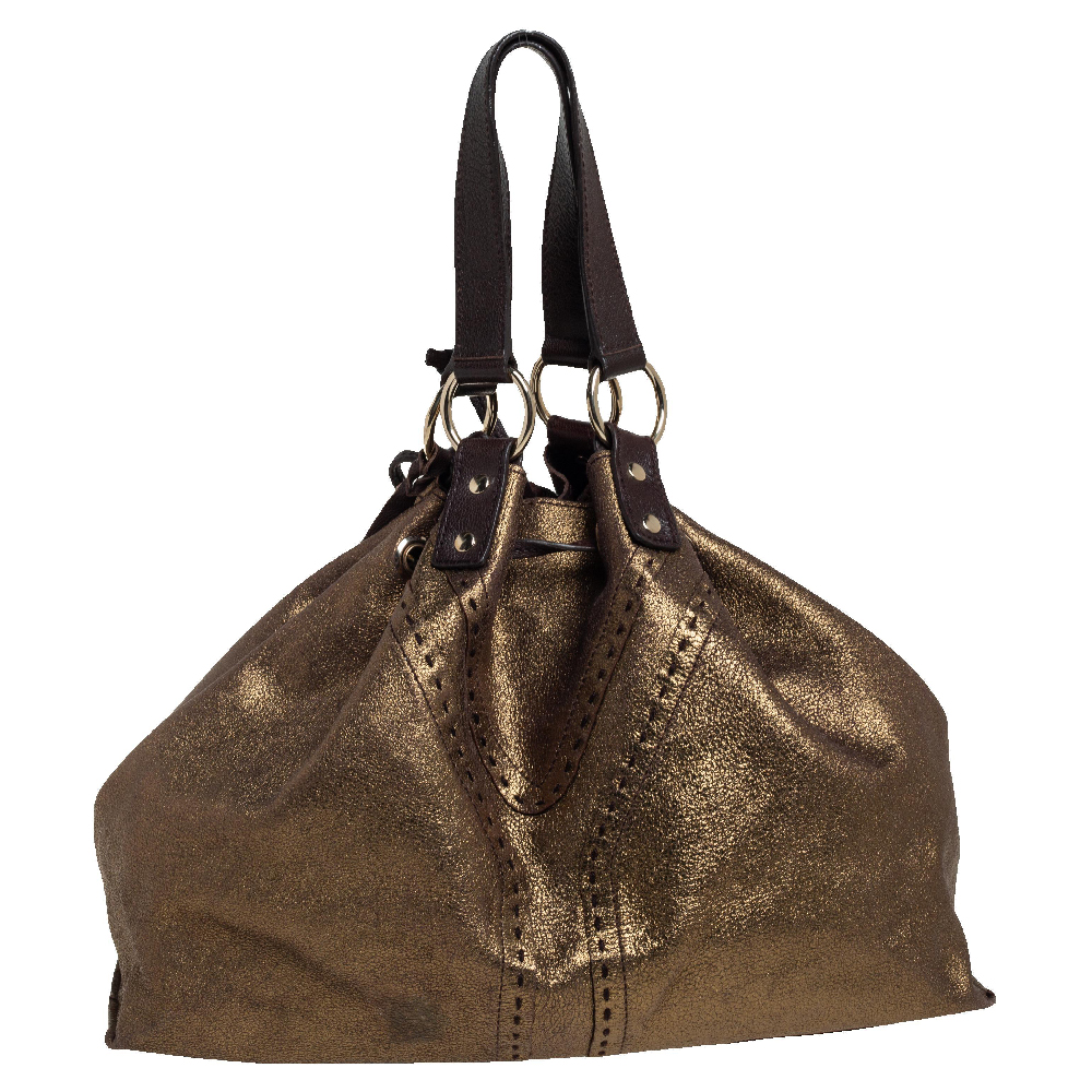 Pre-owned Saint Laurent Gold/dark Brown Leather Reversible Double Sac Y Tote